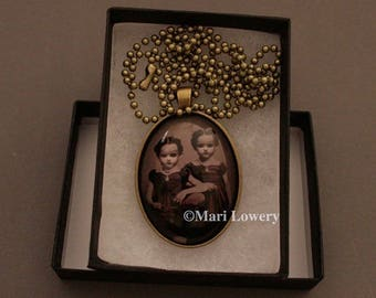 Creepy Twins Halloween Pendant Necklace with Long Chain and Gift Box, Weird Dark Art Jewelry