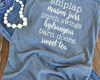Shiplap mason jars porch swings hydrangeas barn doors sweet tea woman's graphic t-shirt  - Farmhouse style - Southern shirt