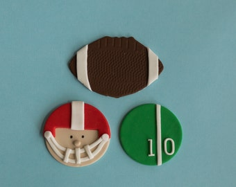 Fondant Football, Football Player with Helmet and Football Field Toppers for Cupcakes, Cookies or Brownies
