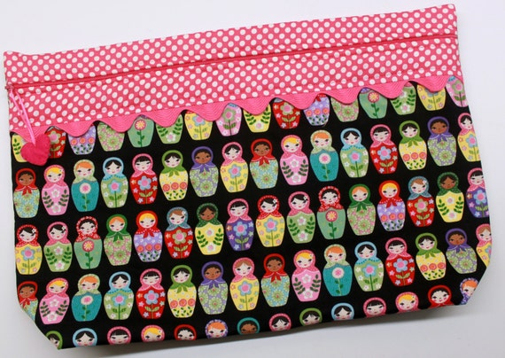 LOTS2LUV Matryoshka Dolls Cross Stitch Embroidery Project Bag