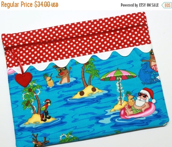 SALE Sunshine Santa Cross Stitch, Sewing, Embroidery Project Bag