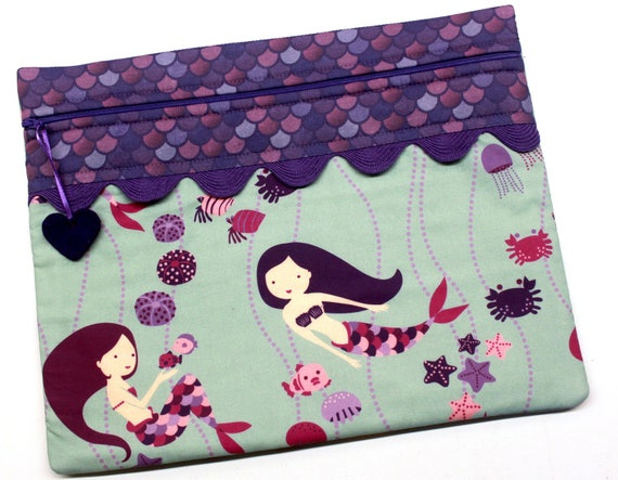 Playful Purple Mermaids Cross Stitch Embroidery Project Bag