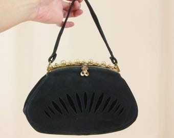 1940s Black Suede Purse * 40s Purse * Black Top Handle Bag * Black Evening Bag * 1940s Evening Bag * Black Suede Clutch