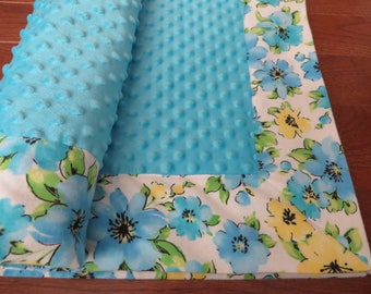 Flowers Minky Blanket Blue Baby Girl Gift Customize Option to add Name, Personalized Handmade Baby Blanket Ready made