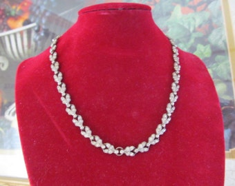Vintage Sterling Rhinestone Necklace Choker