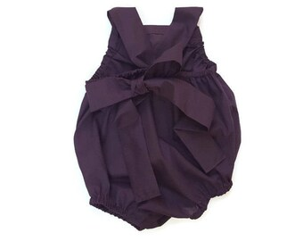 Eggplant Plum Deep Dark Purple Baby Romper Basic Toddler Sun suit ( Custom ) Fall Urban bubble Snap Bottom Crotch Closure