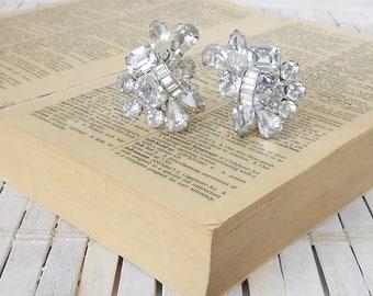Kramer Clip On Earrings, Bling, Glitz & Glam, Clear Rhinestones, 1950's, Wedding earrings, Vintage bride, Bridal jewelry, Silver finish, Wow