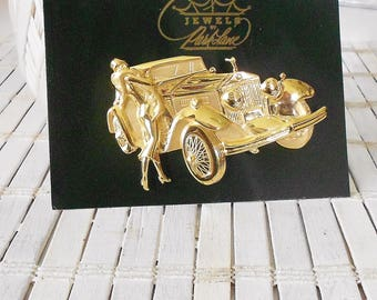 Vintage Park Lane Classic Car Brooch, Art Deco style, 1970's, JJ Jonette, Golden pin, Rolls Royce and classy Lady, Roaring 20's, Large pin