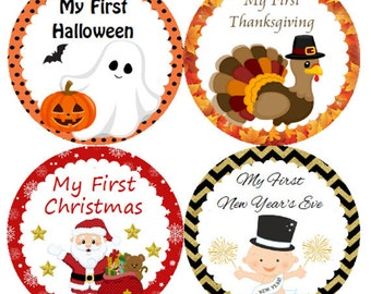 Baby Month Stickers First Holiday Monthly Belly Labels for Christmas, Halloween, Easter, Thanksgiving, Valentine's, New Years, 4th of July