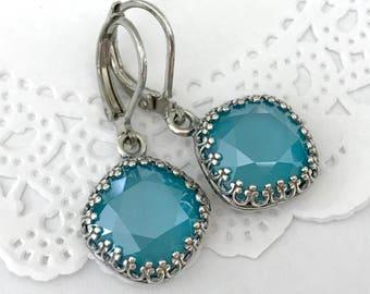 AZURE BLUE Earrings // Vintage Style Swarovski Crystal Cushion Earrings // Estate Style Antique Silver Earrings