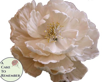 "1 large gumpaste peony, edible sugar flower for an elegant wedding cake topper. 5"" across, sized well to be a wedding cake topper."