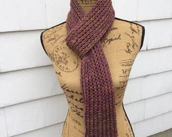 Knit Scarf, Fisherman's Ribbed Scarf, Hand Spun Wool, Winter Scarf, Maroon Scarf