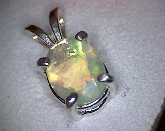 Beautiful Welo Opal Faceted Pendant