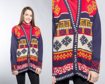 Vintage Fair Isle Sweater Norwegian Style Ugly Christmas Sweater Snowflakes VTG Winter Cardigan Mens or Womens Unisex Size L LARGE 16Z