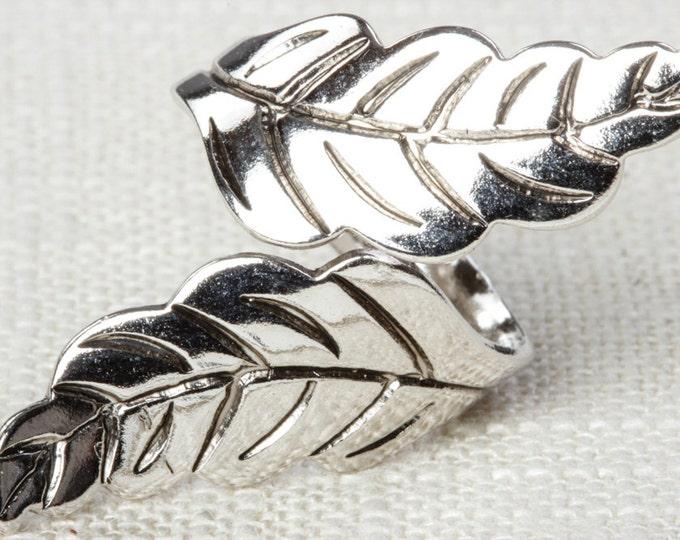 Silver Leaf Ring Vintage Leaves Ring Adjustable Celebrity Brand Womens 16R