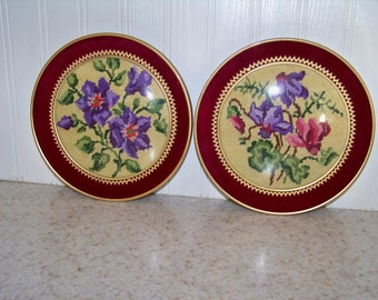 Vintage Round Petit Point Embroidery Floral Under Glass Convex Frame