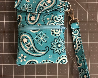 Small Wristlet- Cell Phone Holder- Credit Card Holder- Small Purse- Wallet- blue paisley
