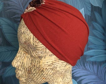 Rust orange vintage style turban with velvet rose embroidery