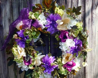 SALE Magnolia Wreath - Spring Wreath - Summer Wreath - XL Spring Wreath -  Hydrangea Wreath , Spring Door Wreath  -  Outdoor Wreath