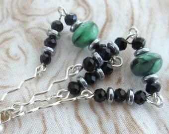Black Onyx Green Bead Boho Earrings, Black Onyx Boho Earrings, Czech Fire Polished Bead Dangle Earrings, Mango Tease, FREE US SHIPPING