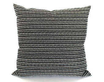 Black Pillow Cover Throw Pillow Cover Black and White Stripe Upholstery Fabric Decorative Pillow 20x20 18x18 16x16