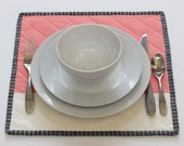 Coral Quilted Placemats, Modern Square Placemats
