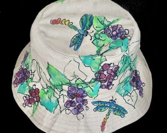 Purple Grapes & Grapevine with Dragonflies Handpainted Bucket Hat