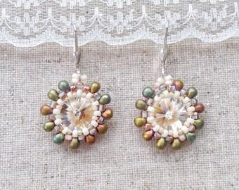 Swarovski sterling silver earrings, swarovski rivoli crystal and glass bead earrings, bridal earrings, unique gift for summer bridesmaid