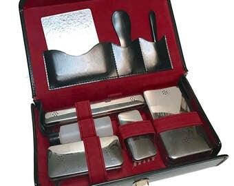 Vintage German Men's Travel Toiletry Grooming Case, shaving kit black case w/ shield, red interior, chrome lids, clear plastic cases, mirror