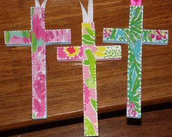 Lilly Pulitzer Inspired Cross fIRst iMPressIONs Let's Cha Cha  ANY PATTERN Religious Easter by Mama Duck Creations