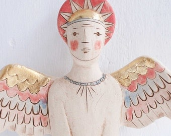 Male Angel Form-ceramic wall art-angel sculpture-gift for him-free shipping