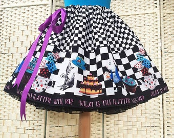Mad Hatter Skirt, Fantasy Clothing, fantasy skirts,Mad hatters Tea Party skirt, Alice In Wonderland Skirt By Rooby Lane