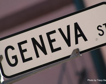 GENEVA Street Sign 5x7 Photo
