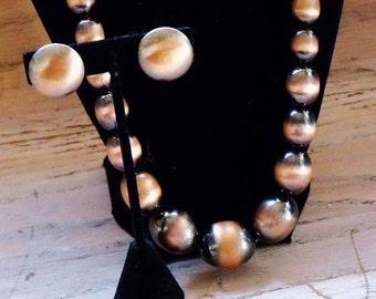 Vintage Necklace Earrings Copper Black Graduated Metal Beads Jewelry Jewellery Set