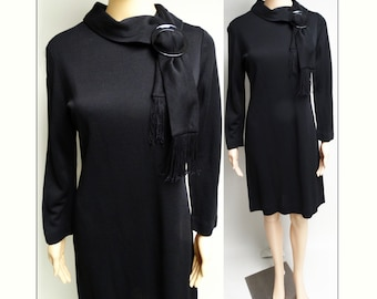 Vintage 1950s Dress//50s Dress/ Black//Designer//Rockabilly//Mod//New Look//Black Lucite//