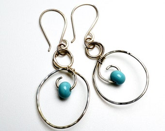 Sterling Silver Hoop Earrings with Swirls Lampwork Beads