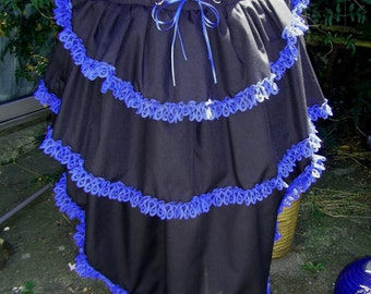 black bustle skirt with any colour lace in any size. back corset lacing