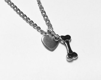 dog lover charm necklace. chain link antiqued silver with a dog bone charm and a heart charm. choose length.