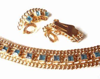 Unsigned Bergère Demi-Parure Bracelet /Clip-on Earring Set Faceted Blue Glass on Goldtone Flat Chain Design circa 1947 Midcentury Jewelry