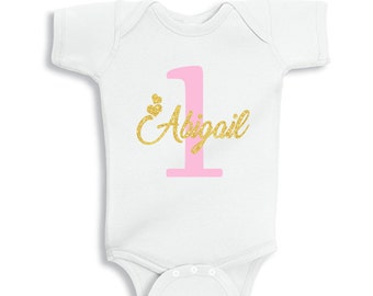 1st Birthday Girl T-Shirt Glitter Gold Name and Pink Age Personalized Bodysuit