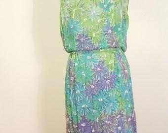 Vintage 1960s Sleeveless Floral Print Dress Spring Fresh Color Palette Sequins. Small to Med