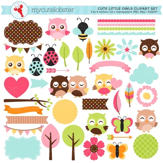 Cute Little Owls Clipart Set