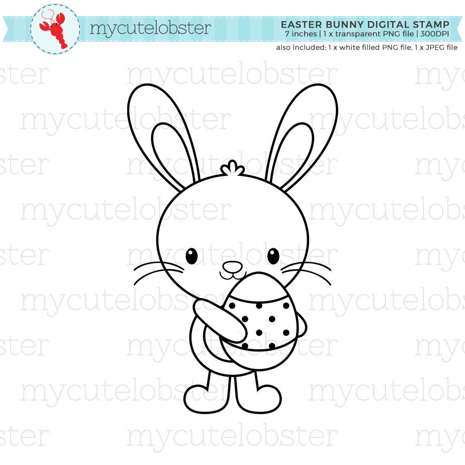 easter bunny digital stamp clipart clip art outline bunny