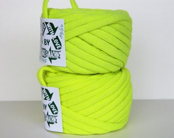 Recycled T Shirt Yarn, Neon/Fluorescent Yellow/Green 34 Yrds , T- Shirt Yarn, Bulky Crafting Cord
