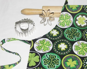 Shamrocks on Black Child Apron
