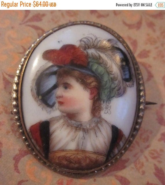 On Sale Antique Art Nouveau Hand Painted Porcelain Lady With A Plumes Hat French Brooch