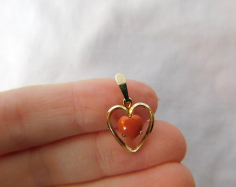 Vintage Pink Coral and Gold Tone Heart Pendant