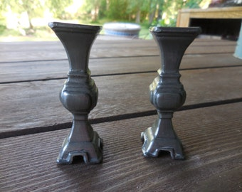 Vintage 1960s to 1970s Silver Tone Small Candlestick Holders Little Metal Square Opening Different Unusual Goth