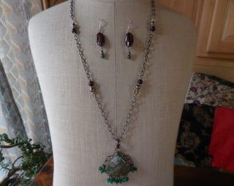 Ooak Handmade Long Sterling Silver 925 Necklace and Earrings Set Tigers Eye/Clear/Jade Gemstones Handmade Dangles