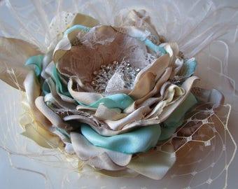 Bridal hair piece in champagne and aqua Beach hair flwoer Fabric flower Beach wedding flower pin Champagne and aqua hair flower